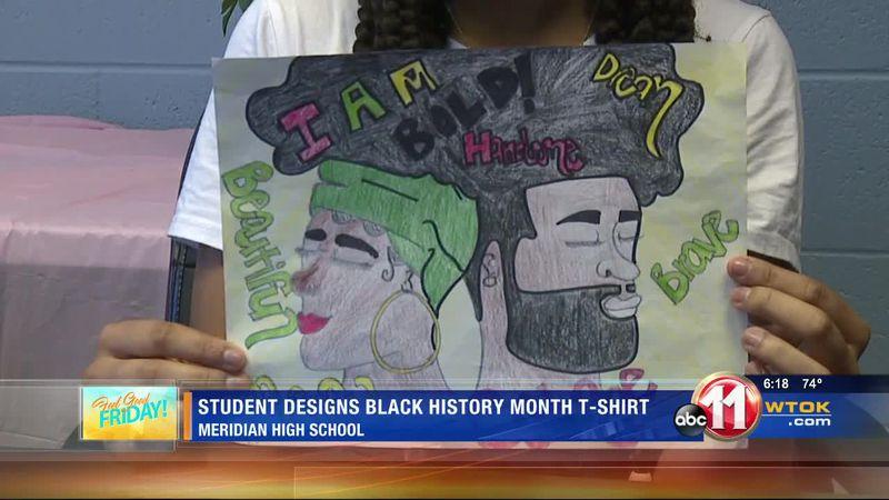 Meridian High School 9th grader designs Black History Month t-shirt