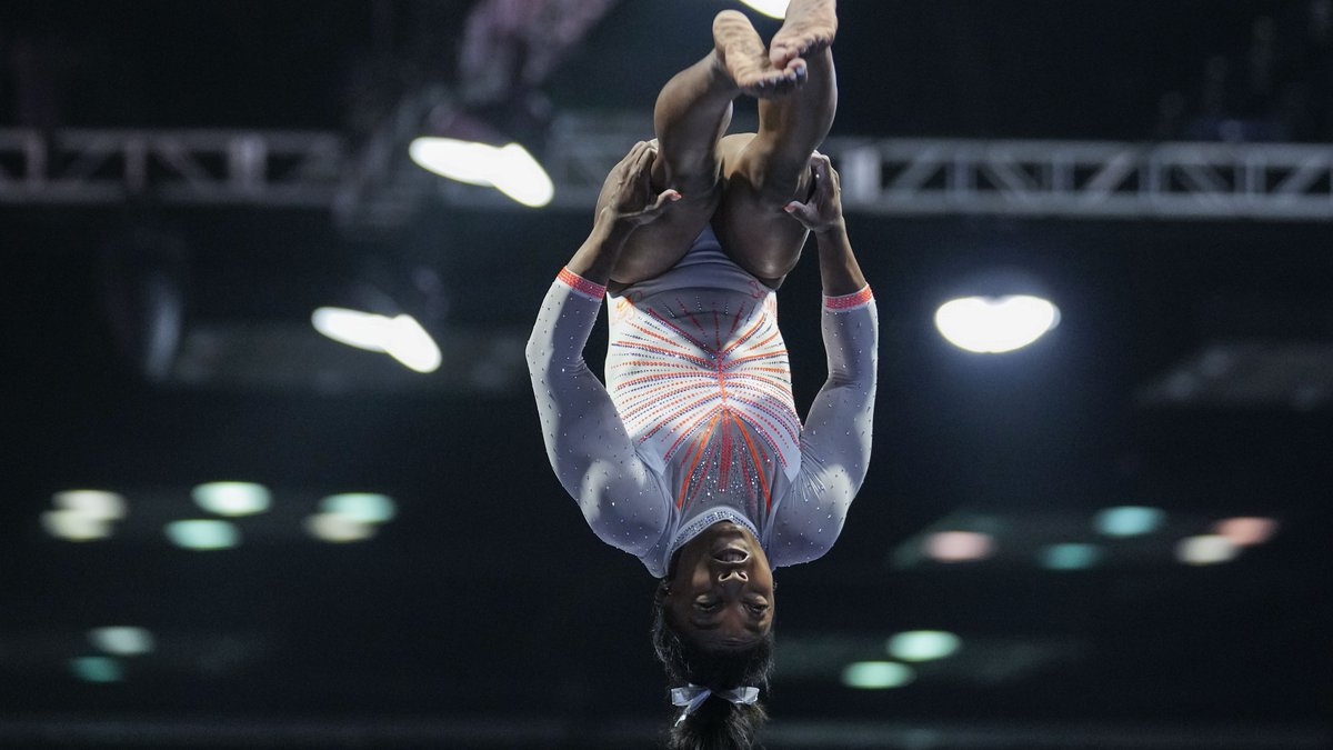 Simone Biles performs during the vault at the U.S. Classic gymnastics meet in Indianapolis,...