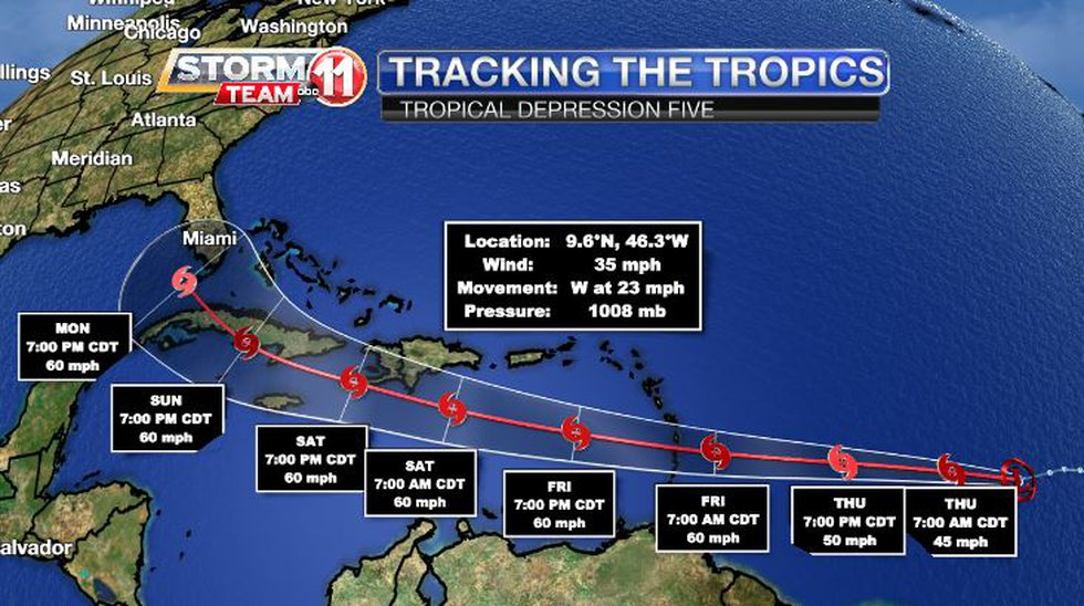 Tropical Depression Five is expected to become Tropical Storm Elsa on Thursday.