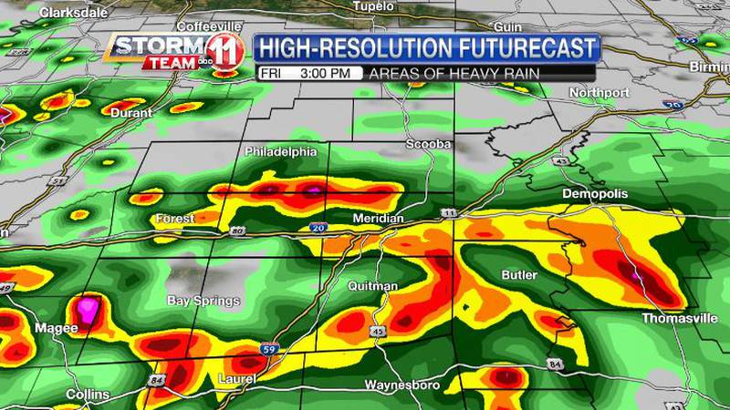 Periods of heavy rain are likely on Friday.