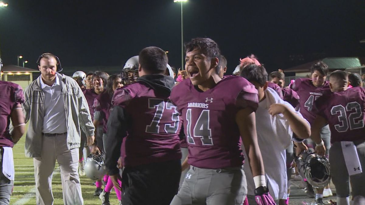 The Choctaw Central football team celebrates snapping a three-year losing streak in Oct. 2018