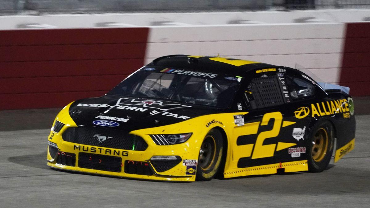 Brad Keselowski drives into Turn 1 during the NASCAR Cup Series auto race Saturday, Sept. 12, 2020, in Richmond, Va. (AP Photo/Steve Helber)