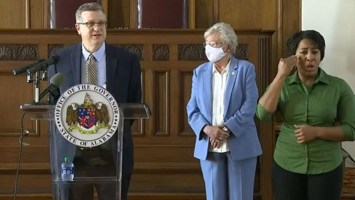Governor Ivey speaks at a recent COVID-19 press conference.