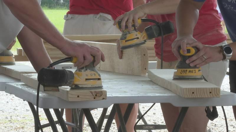 Bunks across America built 40 bunkbeds Saturday at Singing Brakeman Park.
