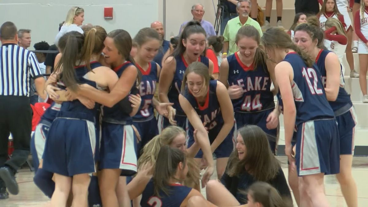 The Lady Rebels celebrate beating Hartfield Academy 39-36 in the MAIS Overall Championship