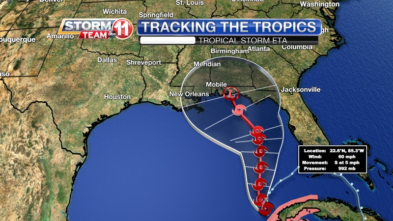 Tropical Storm Eta Track - 6 a.m. Nov 10