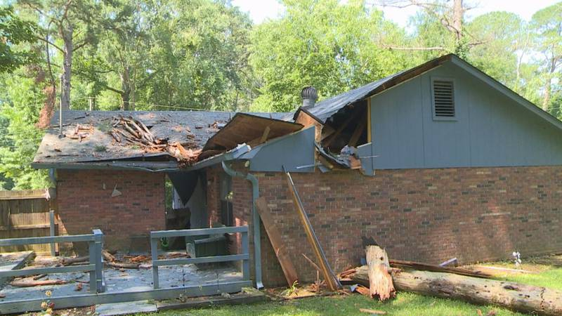 Kathy Shaw said she narrowly missed being crushed when a tree fell on her house Sunday evening.