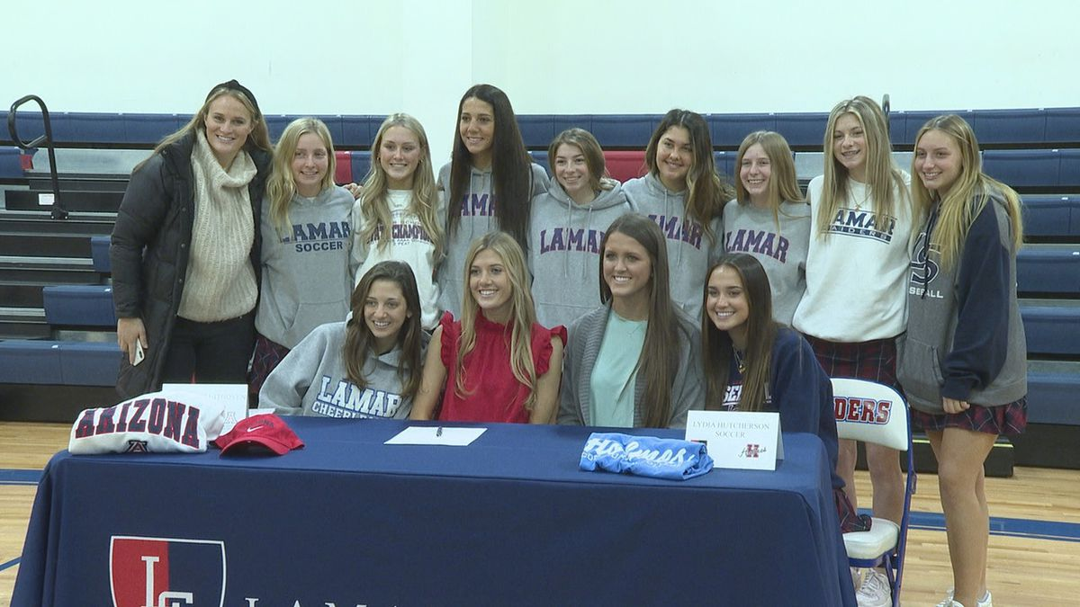 Lamar girls soccer players Lydia Hutcherson and Emma Kate Uithoven were joined by their fellow...