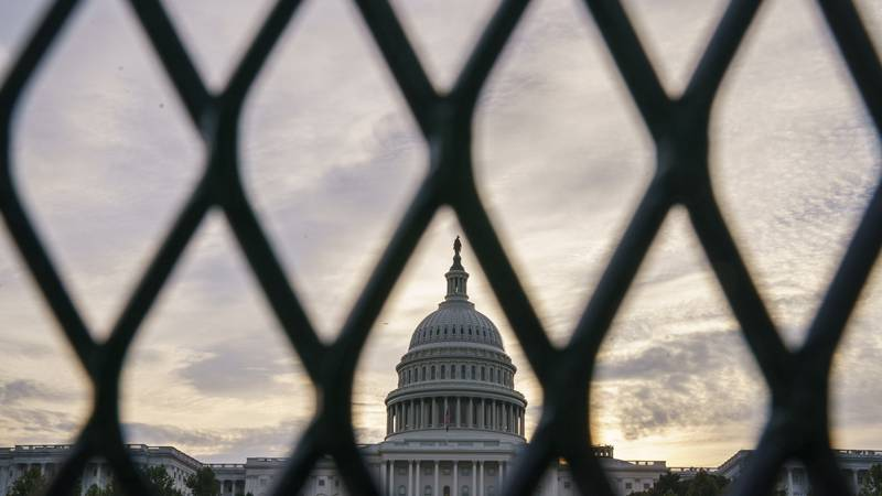Security fencing has been reinstalled around the Capitol in Washington, Thursday, Sept. 16,...
