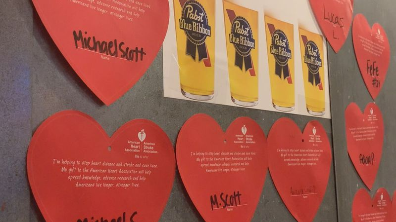 Diners can purchase a red heart for $1. All proceeds go to the American Heart Association.