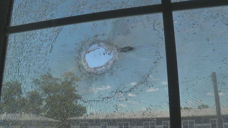 A window was shattered by a bullet at Frank Berry Courts Wednesday evening.