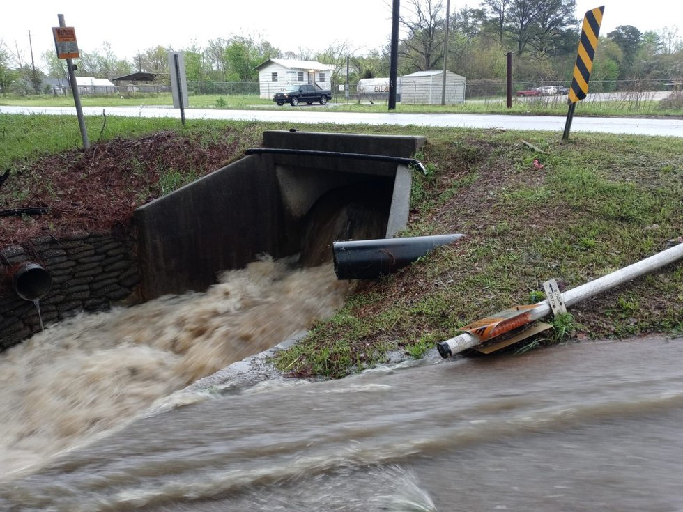 Ditches and creeks across the area filled up quickly with storm water