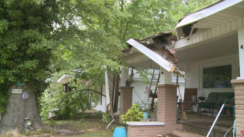 Severe weather damages homes in Philadelphia.