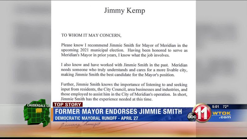Former Meridian mayor endorses Jimmie Smith in democratic runoff