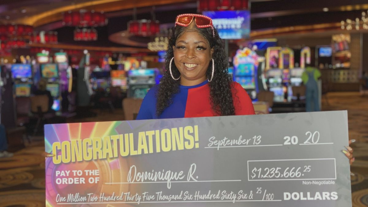 Dominique R. of Kosciusko, Miss., was playing the Wheel of Fortune slot machine at Golden Moon Casino when she won a huge jackpot worth $1,235,666.25!
