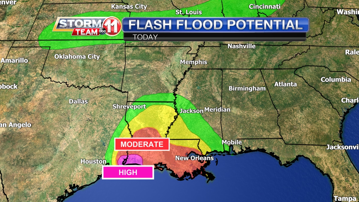 Flash flooding a high risk across parts of the coast today