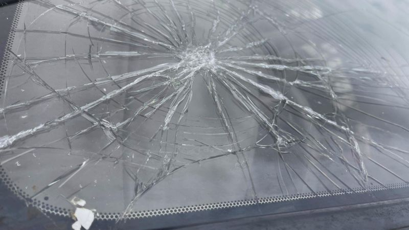 Shattered windshield.