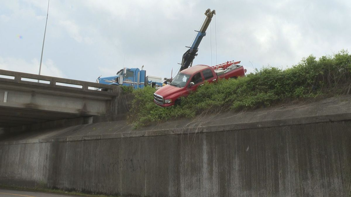 A truck got stuck on the edge of an embankment in Meridian Monday afternoon.