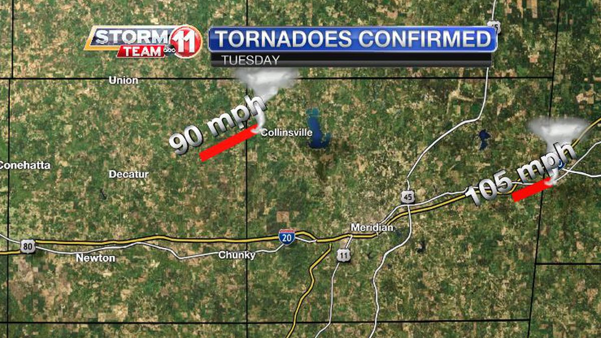 Two tornadoes were confirmed following damage surveys conducted by the National Weather Service.