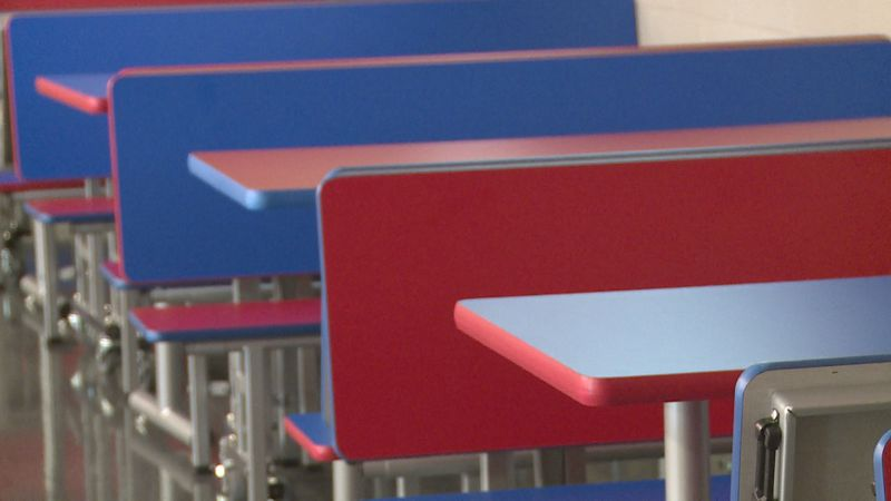 Booth tables inside new Neshoba Central High School cafeteria.