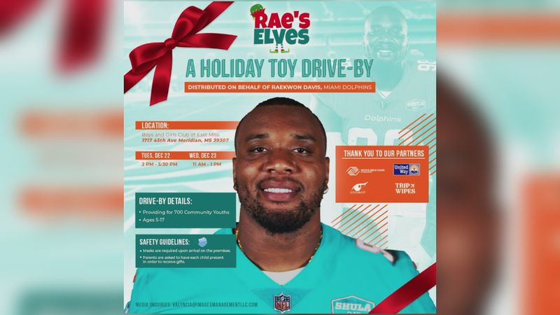 Meridian native and current Miami Dolphins defensive lineman Raekwon Davis is giving back to...