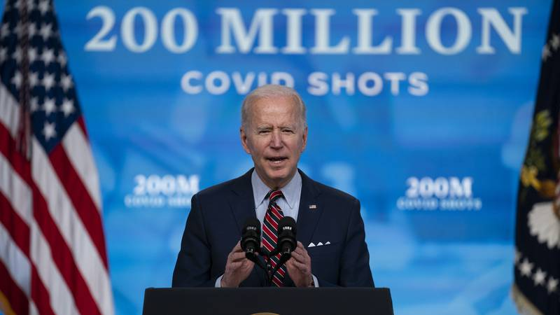 FILE - In this April 21, 2021, file photo, President Joe Biden speaks about COVID-19...