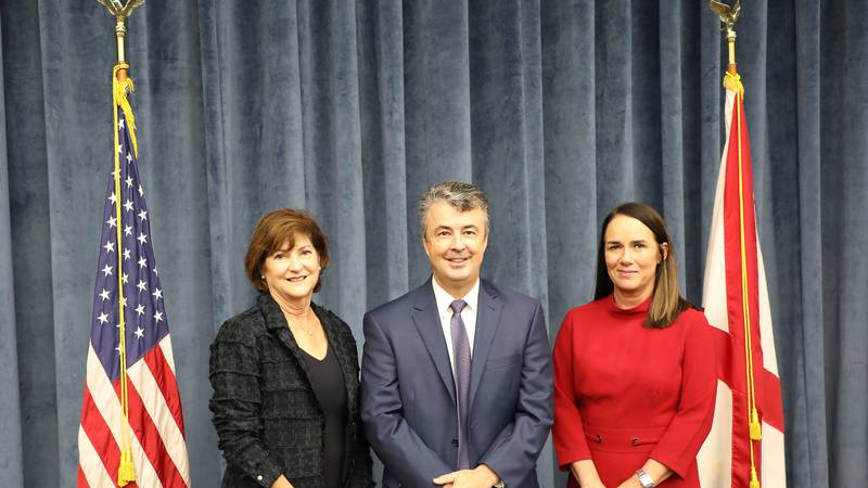(L-to-R) Sallye Longshore, Director, ADCANP; Attorney General Steve Marshall; Tracy Plummer,...