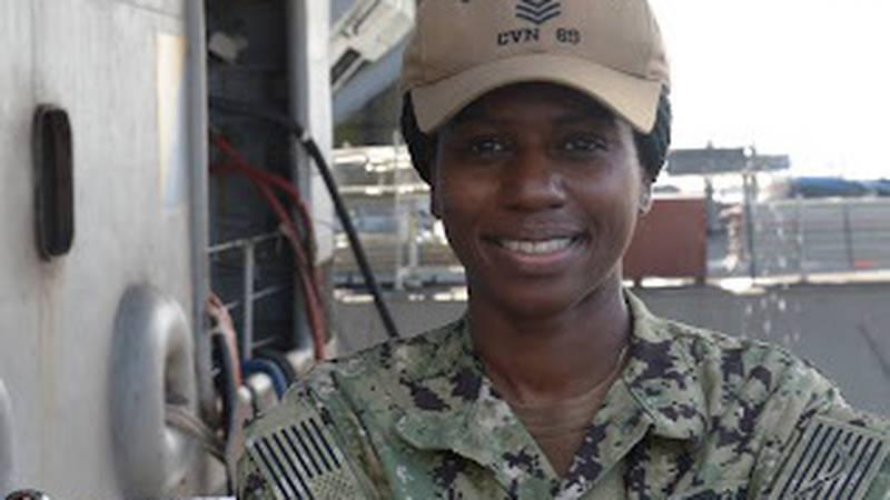 Petty Officer 1st Class Amber Serton is serving aboard U.S. Navy aircraft carrier USS Dwight D....