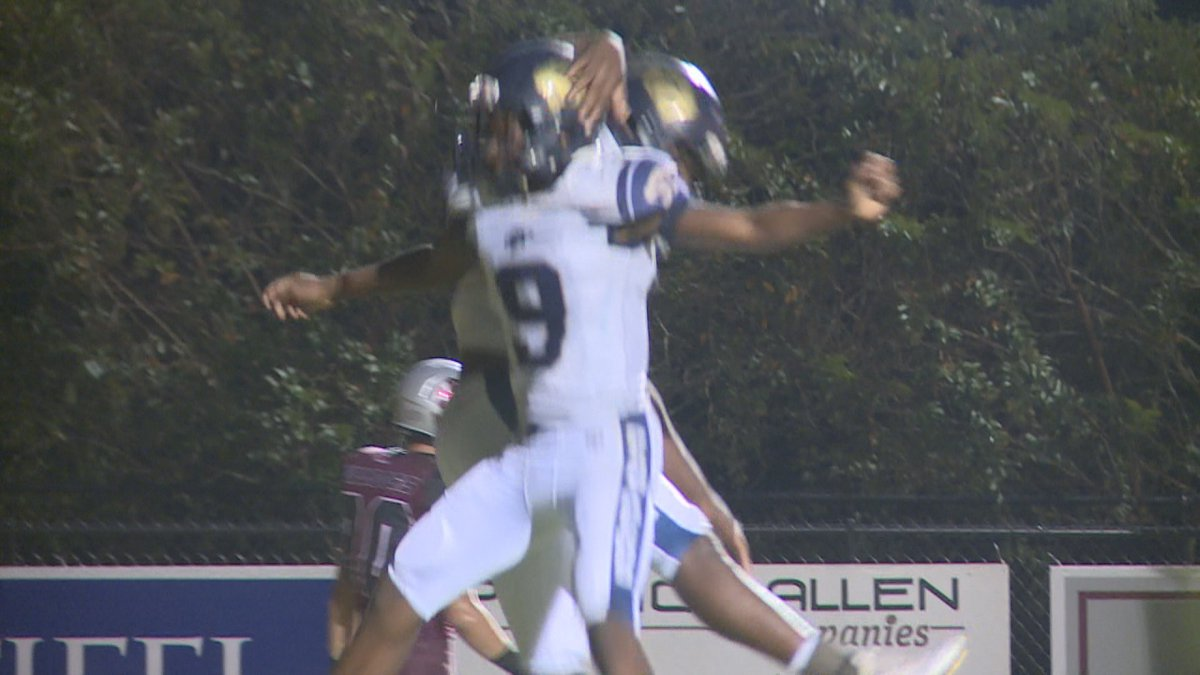 Kendrick Boyd celebrates with Jarius Boatman after first Morton touchdown of the game. The...