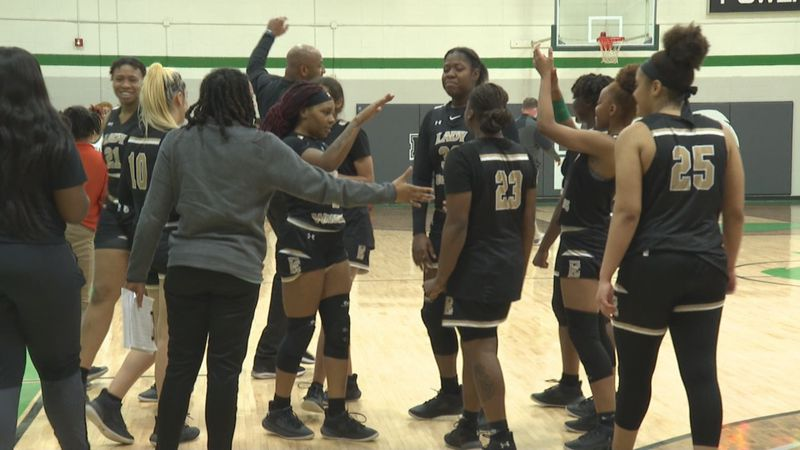 No. 13 ECCC celebrates its upset of No. 4 MCC in the second round of the NJCAA Region 23...