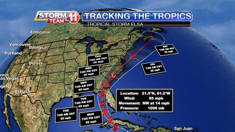 Tropical Storm Elsa Track
