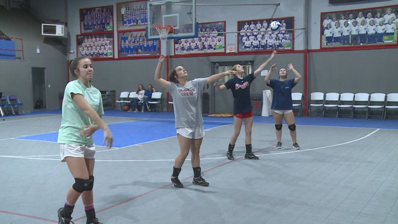 """South Choctaw Academy practices one day before the Lady Rebels """"Elite Eight"""" match in the AISA..."""