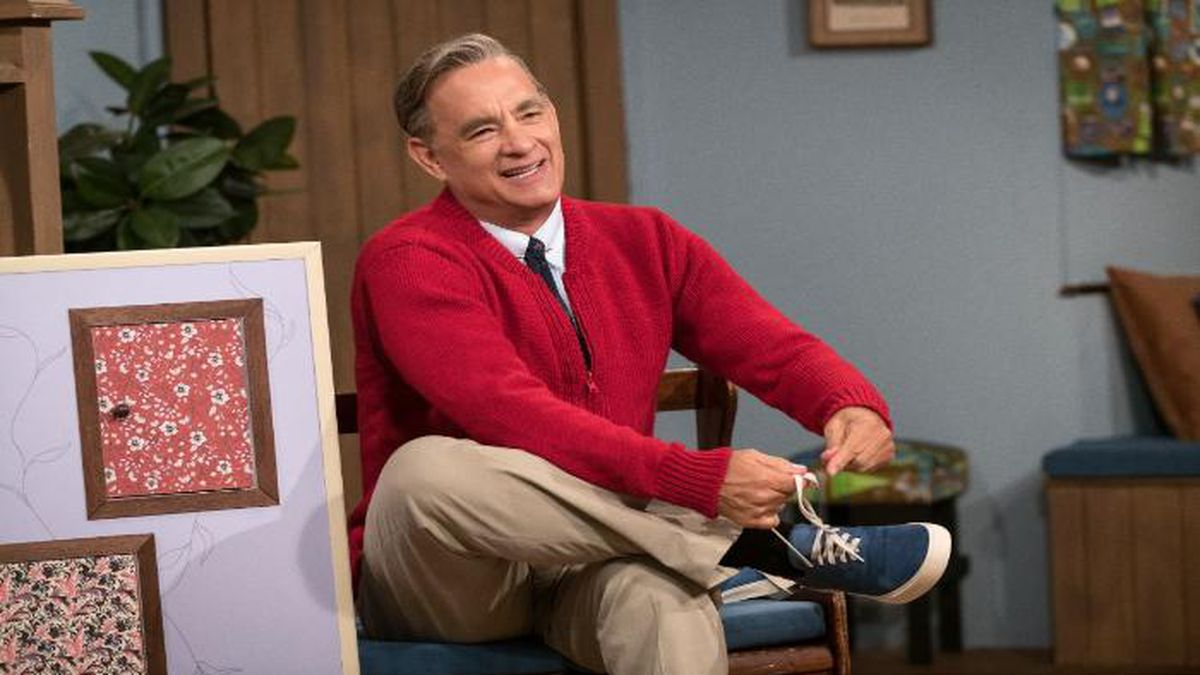 "Tom Hanks is portraying Mr. Rogers in the upcoming film, ""A Beautiful Day in the Neighborhood."" (Source: Sony Pictures)"