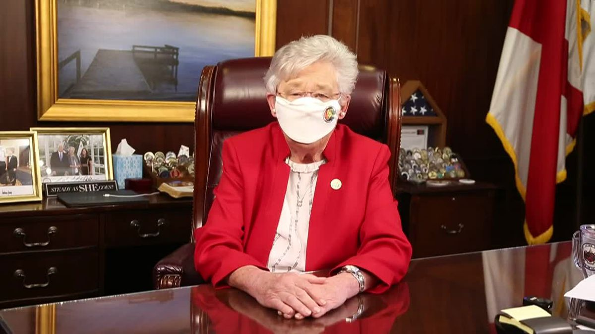 Gov. Kay Ivey's statewide mask order is challenged in court.