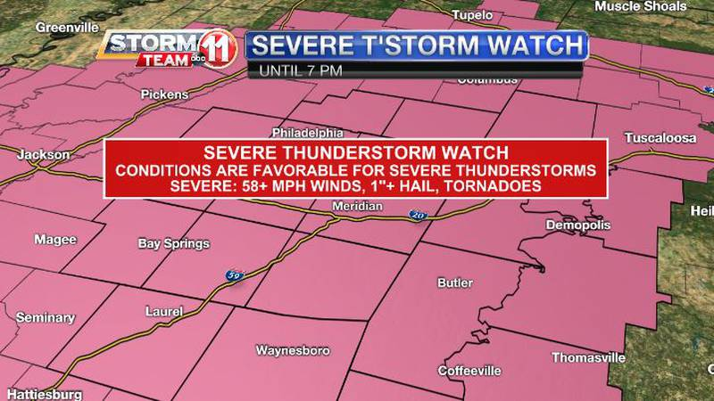 Severe thunderstorms are possible Sunday afternoon.