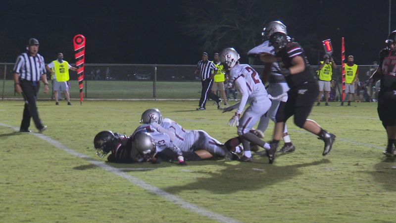 West Lauderdale's Dylan Brown falls just shy of a touchdown in the Knights Friday night matchup...
