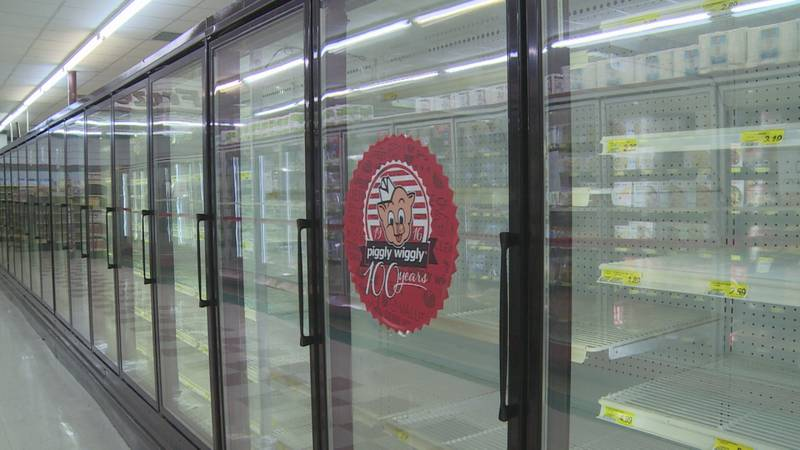 Power restored but shelves empty at Piggly Wiggly due to severe storm.