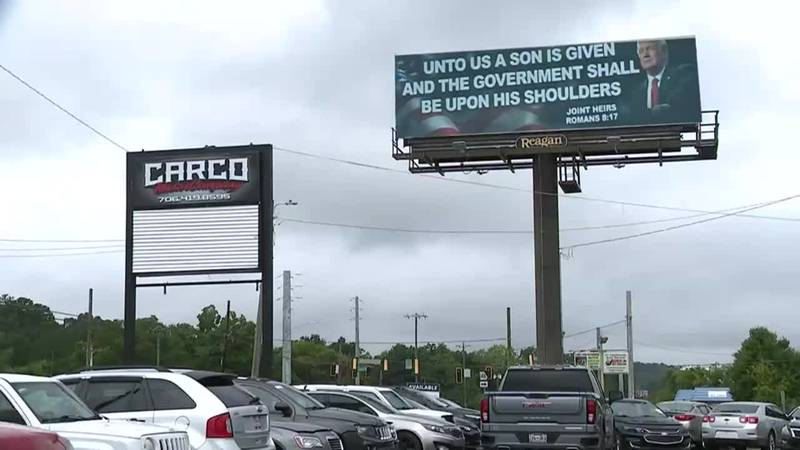 A now-removed political billboard in Georgia is drawing controversy for alleged blasphemy.