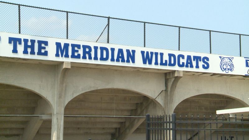 "Part of the new design features block letters that read ""Ray Stadium Home of the Meridian..."