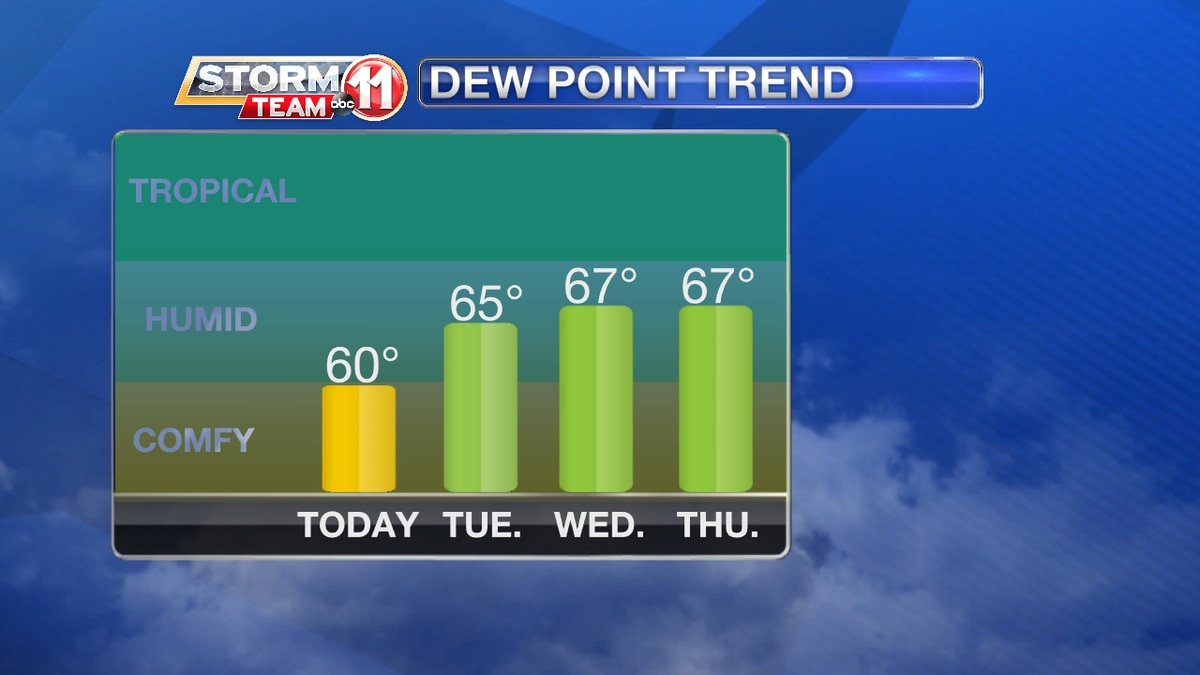 Feeling more muggy in the days ahead