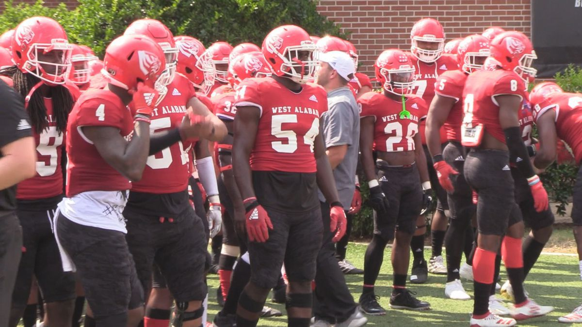 The UWA football team emerges from the locker room to face North Greenville during the 2019 season