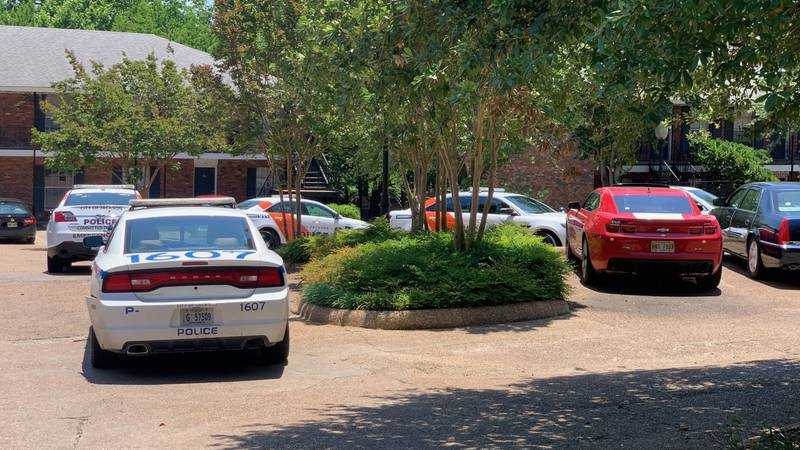 Police cars outside the apartment at Belhaven Springs.