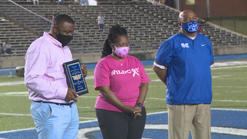 """Coach Calvin """"Hamp"""" Hampton was honored during halftime of Thursday night's Meridian-Petal..."""