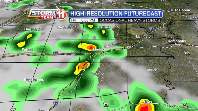On-and-off showers and heavy storms are likely throught Friday evening.
