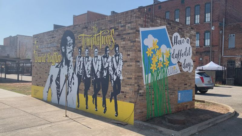 """""""Have a Daffodil Day"""" is now painted near the recently-finished David ruffing mural site at..."""