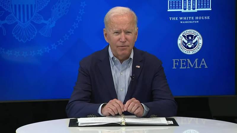 Biden speaks during a FEMA briefing as Louisiana and the Gulf Coast prepares for Ida. (Source:...