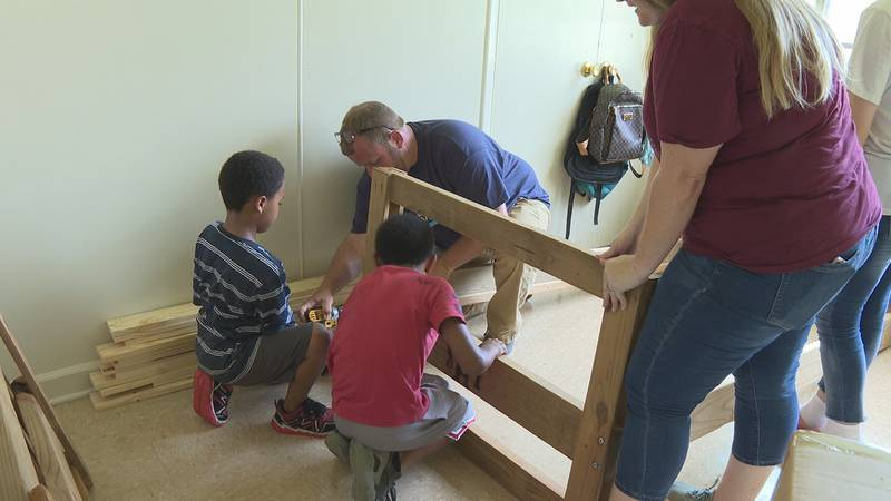A local family in Magnolia Park Court was given bunk beds after lost everything in a fire...
