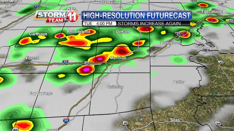 Heavy storms will increase on Tuesday, but the increase in rain will be short-lived.