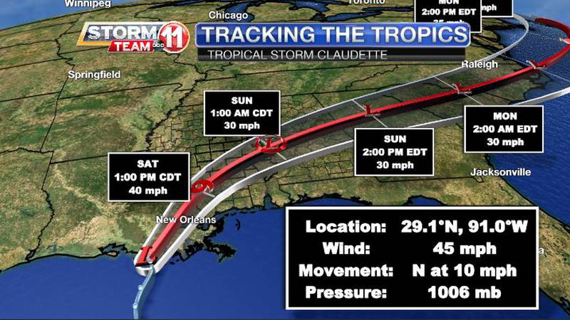 Tropical Storm Claudette formed early Saturday morning near the Louisiana Coast.