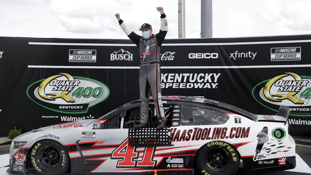 Cole Custer (41) celebrates after winning a NASCAR Cup Series auto race Sunday, July 12, 2020,...